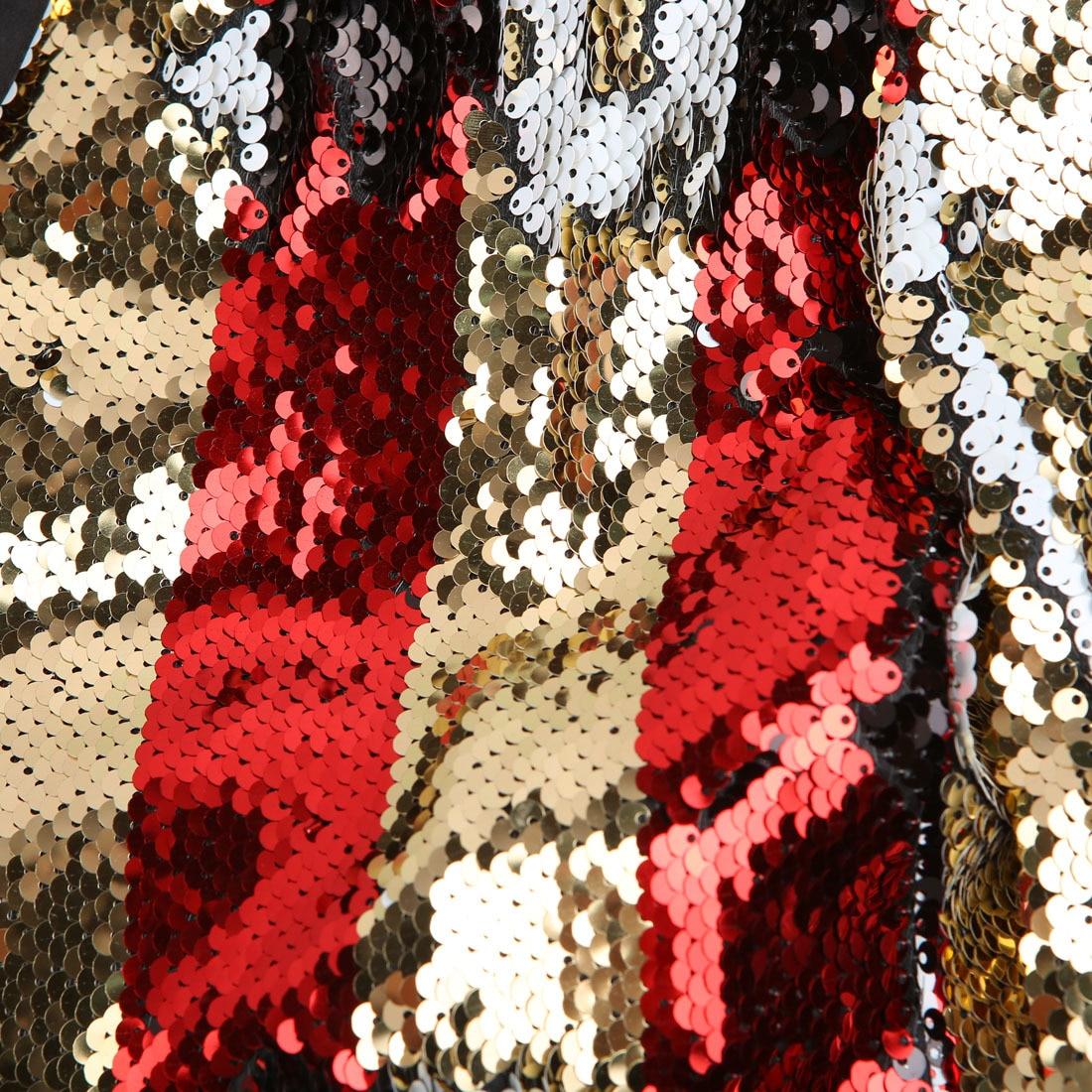 PYJTRL Neue Männer doppelseitige Bunte Streifen Rot Gold Weiß Schwarz Pailletten Blazer Design DJ Sänger Anzug Jacke Mode outfit - 4