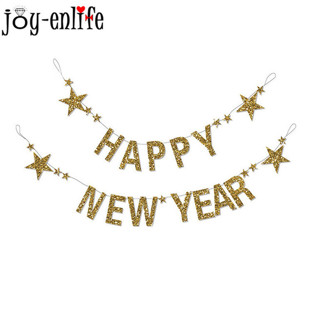 joy enlife 1set 3m gold glitter star happy new year banner bunting garland 2019 new