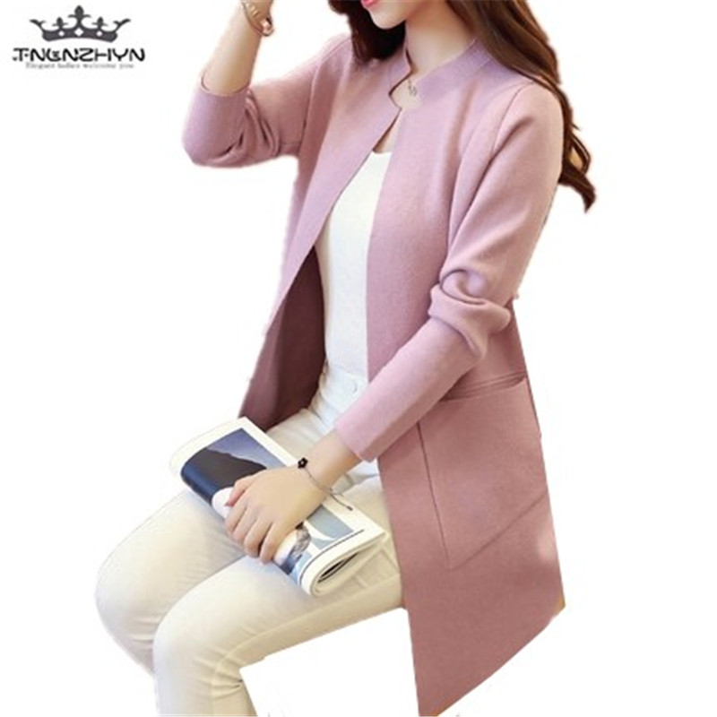 tnlnzhyn 2017 New Spring Autumn Women Sweater Cardigan Slim Pockets Long Sleeve Knitted Cardigan female Sweaters Coat Y571 ...
