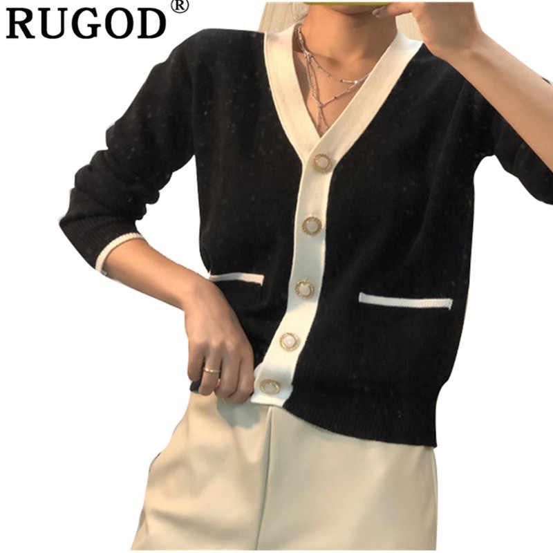 RUGOD אלגנטי נשים סוודרים 2019 אופנה חדשה חורף בגדי צווארון V סרוג משרד גברת נשים סוודר ג 'רזי mujer invierno