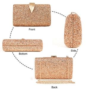 Image 3 - Women Clutch Bags Day Clutches Pink Gold Purse for Wedding Crossbody Bags for Women 2019 Metal Leaf Lock Female Handbag ZD1076