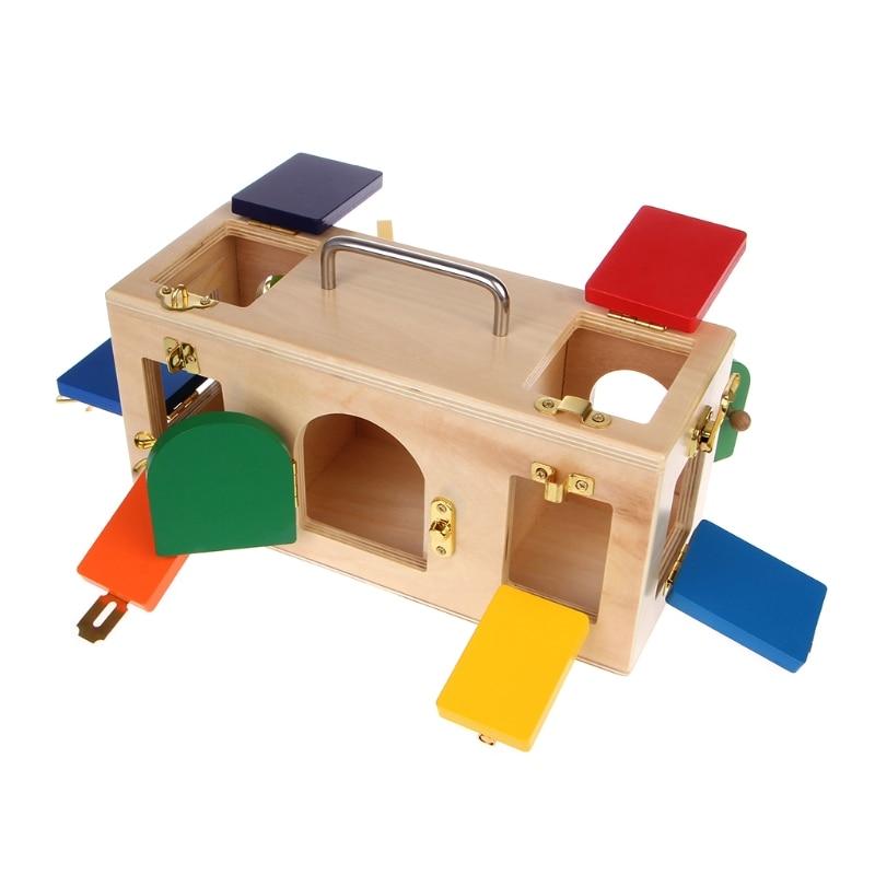 Montessori coloré serrure boîte enfants enfants éducatifs préscolaire formation jouets 95AE - 3