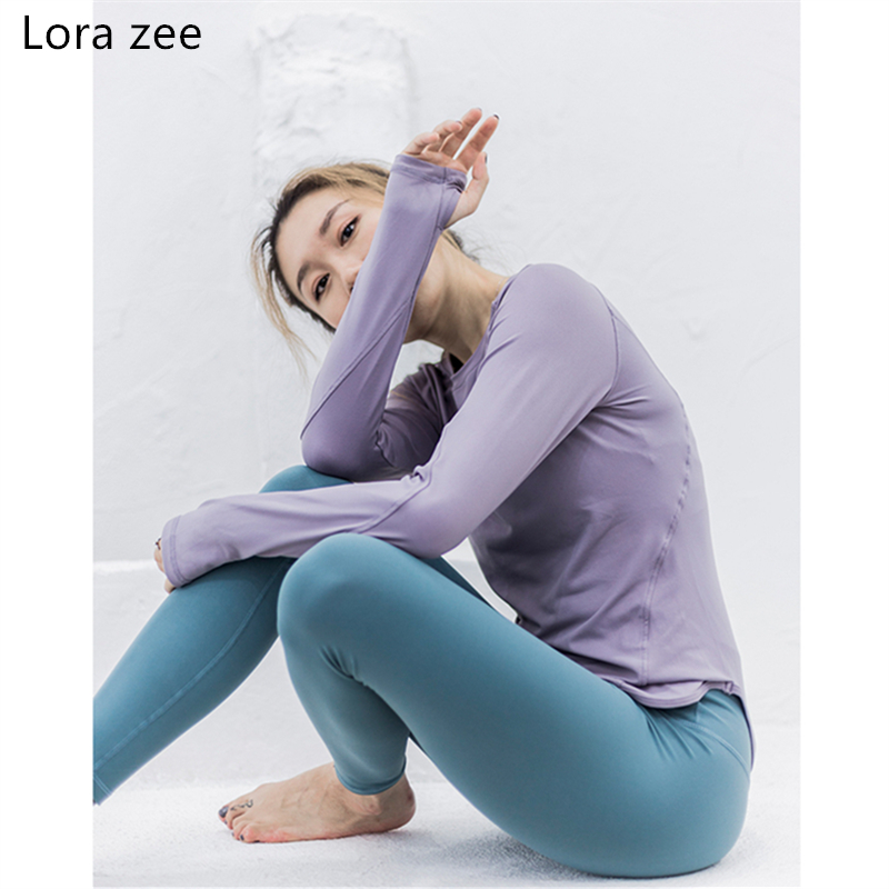 LORA ZEE Long Sleeves Yoga Top With Thumb Hole White Women Shirts Mesh Panels Workout Wear Gym Fitness Top Sports T Shirt 2018