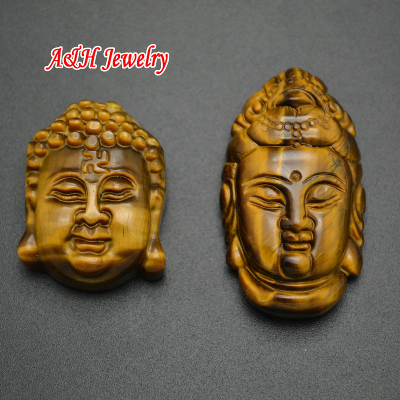 Grade AA Natural Tiger Eyes Guanyin Buddha Head Carved High Quality Fashion Man And Women Lucky Jewelry Making Charms 5pc/lot