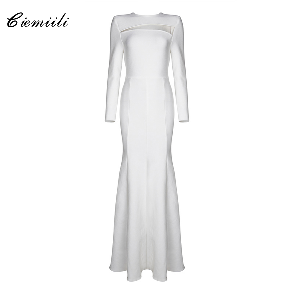 CIEMIILI Fit and Flare Full Sleeves O Neck Back Zipper Celebrity Noble White Bandage Dress Evening Party 2017 Floor-Length Dress