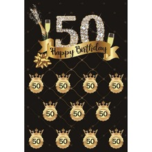 Laeacco Happy 50th Birthday Party Diamond Celebration Poster Portrait Photo Backgrounds Photography For Studio