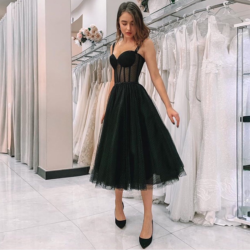 New Arrival Illusion Black   Prom     Dress   Spaghetti Strap Polka Dot Tulle Tea Length Formal Party Gowns Short Vestido De Festa 2019