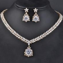 Elegant Jewelry Silver Plated Fashion Flower Shape Rhinestone Necklace&Earrings Jewelry Sets for Women GLN0115