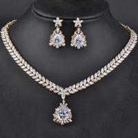 Elegant Jewelry Silver Plated Fashion Flower Shape Rhinestone Necklace&Earrings Jewelry Sets for Women GLN0115