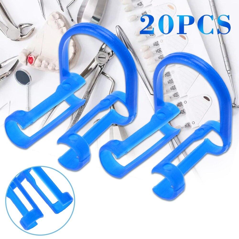 20pcs New Blue Disposable Cotton Roll Holder Clip Dental Dentist Clinic Holder Set