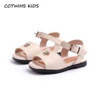 CCTWINS KIDS 2018 Summer Fashion Pu Leather Shoe Toddler Baby Girl Rhinestone Slipper Children Black Soft