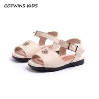CCTWINS KIDS 2018 Summer Fashion Pu Leather Shoe Toddler Baby Girl Rhinestone Slipper Children Black Soft