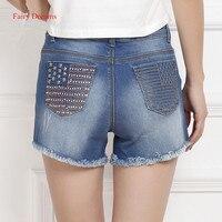 Sonhos de fadas de Verão calças de Brim Da Bandeira Americana Bolsos Beading Rasgado Mulheres Denim Shorts Calças Feminino Femme Roupas de Cowboy 2017