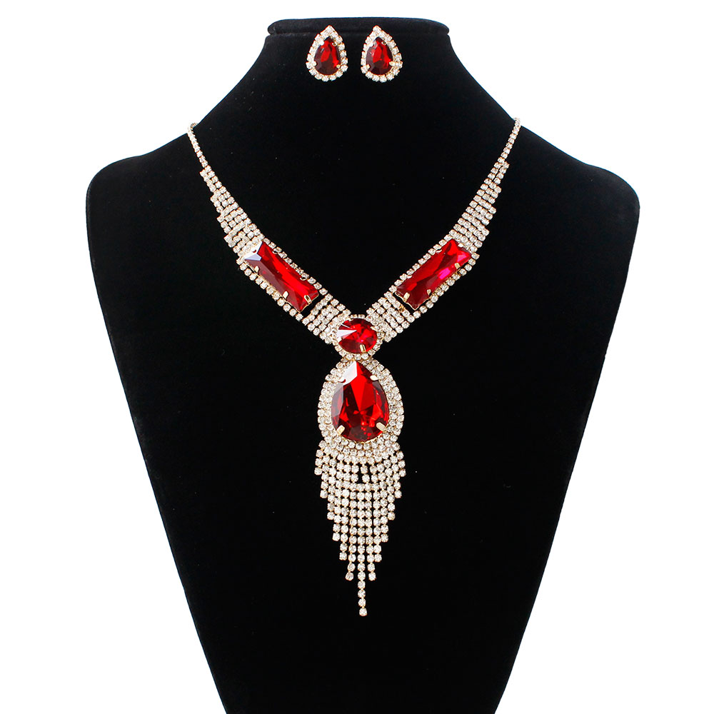 Inventive F&u Silver Color 4 Different Colors Of Big Crystal Chain Necklace And Earrings Stud Jewelry Set For Women