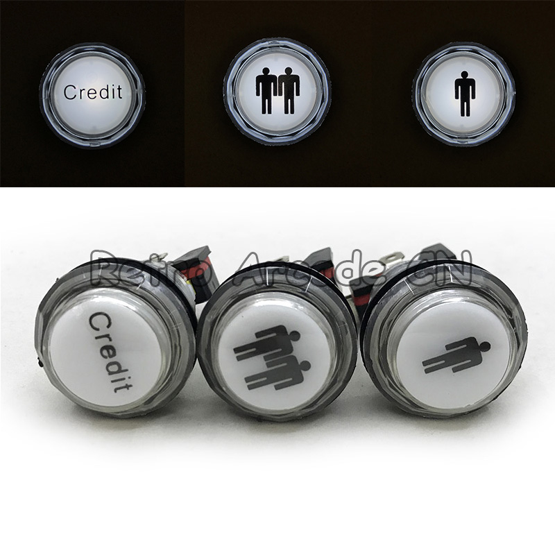 Arcade Game Push Button LED 5v/12v illuminated Transparent Button With Micro Switch Player 1/2 CREDIT for DIY
