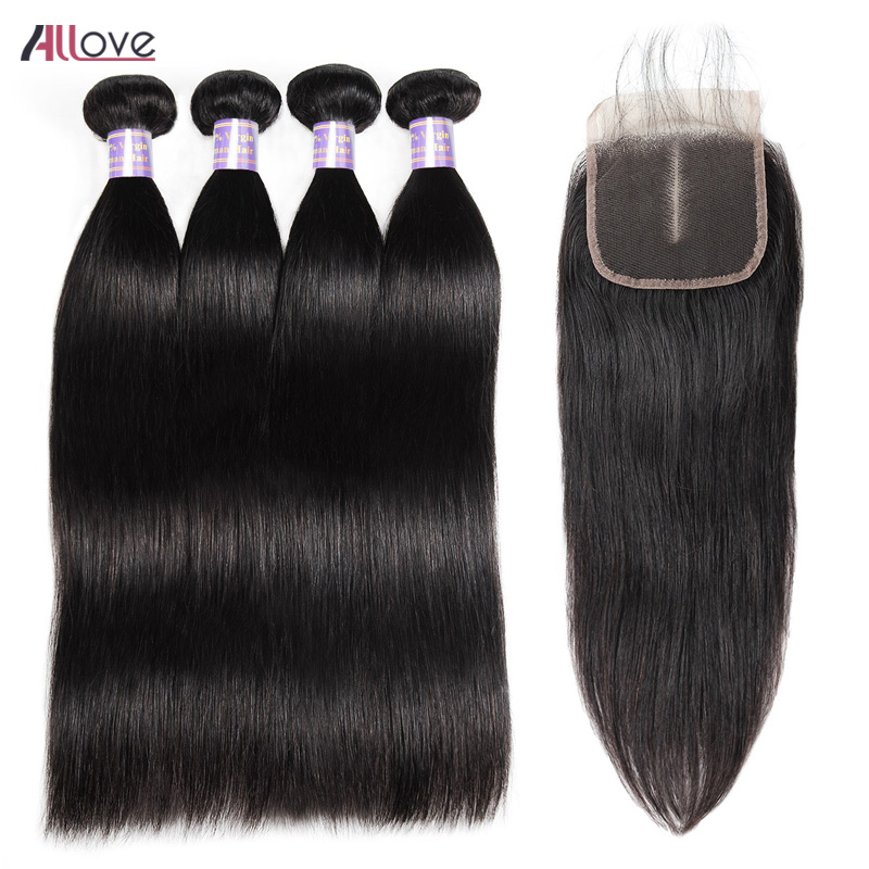 Allove Mongolian Straight Hair Bundles With Closure Free Part Lace Closure Remy Human Hair Bundles With
