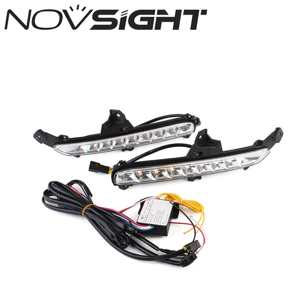 NOVSIGHT Car LED Lights DRL Driving Daytime Running Light White Yellow Blue Turn Signal For KIA K2 2015-2016 Free Shipping free shipping 2pcs lot 12v car led front turn signal light bulb for kia rio rio5 06 09 spectra spectra5 07 09 sportage 05 07
