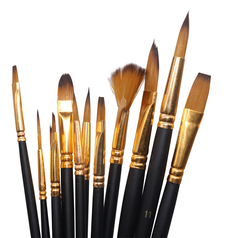 Line Fine Professional Drawing Gouache Oil Paint Brushes Different Shape Round Pointed Tip Hair Painting Brush Set Art Supplies