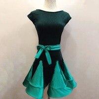 Hot Selling Girl Latin Dance Dress Green Black Satin Dresses School Children Kid Stage 2017 Performance Latin Club Clothes 2092