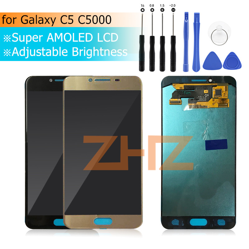 Super Amoled For SAMSUNG C5 LCD Display Touch Screen Digitizer Assembly For SAMSUNG C5000 LCD Replacement