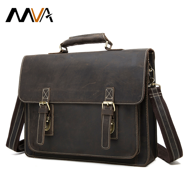 MVA Men Briefcase Portfolio Leather Laptop Bag 14inch Genuine Leather Men  Bag Men Messenger Bags Shoulder 225b13c5fb1a1