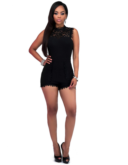9761401a4faf Lace Patchwork Sexy Summer Women Jumpsuits Rompers Shorts Bodysuit Overalls  For Women Plus Size Black Elegant Playsuit Ladies