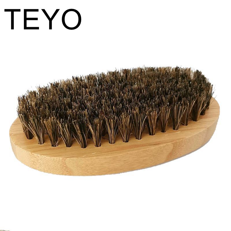 TEYO Beard Brush Of Boar Bristle With Bamboo Handle For Man Care Beard Skin Care Beard Grooming 11.3x5.5x3cm