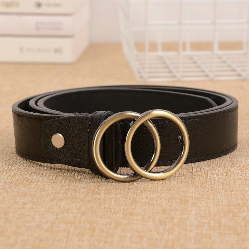 HATCYGGO Slim Belts For Women Waist Belt Female Double Ring Buckle Womens Pu Leather/Black/Fashion Waistband Jean