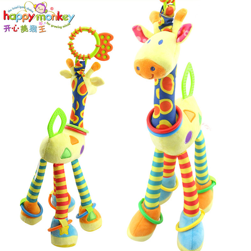 Happy Monkey Baby Development Soft Plush Rattle Animal Giraffe Handle Toy Baby Trolley Baby Crib Hanging Teether Toy HM0002