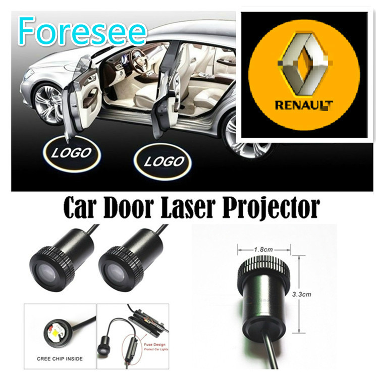 Foresee (For RENAULT) 2*Universal Ghost Shadow Logo welcome Car LED Door Light Laser Courtesy Slide Projector logo Emblem light