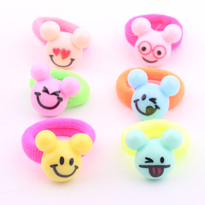 Hot sale multi color mini hair rings with resin charms cute mickey head hair bands for girls 20pcs lot in Hair Accessories from Mother Kids