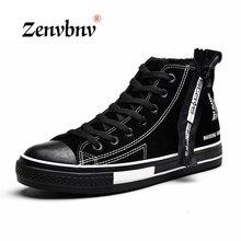 ZENVBNV Men vulcanize Shoes Winter Flat Canvas Shoes Warm Plush Comfortable Men Sneakers Suede Lace-Up Male Footwear 39~44 size