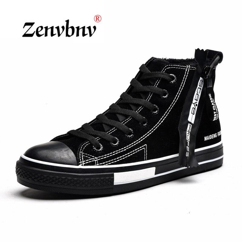ZENVBNV Men vulcanize Shoes Winter Flat Canvas Shoes Warm Plush Comfortable Men Sneakers Suede Lace Up Male Footwear 39~44 size