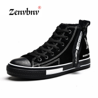 ZENVBNV Men vulcanize Shoes Winter Flat Canvas Shoes Warm Plush Comfortable Men Sneakers Suede Lace Up Male Footwear 39~44 size