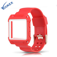 YOUKEX Fitbit Blaze Band With Protective Case Replacement Fashion Durable Double Color TPU Conjoin Watch Strap