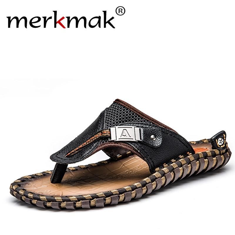Merkmak Luxury Brand 2018 New Men's Flip Flops Genuine Leather Slippers Summer Fashion Beach Sandals Shoes For Men Big Size 45