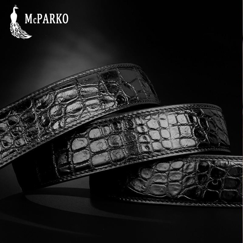 Apparel Accessories Mcparko Genuine Alligator Leather Belt Men Agate Inlaid Automatic Buckle Real Crocodile Belt Luxury Brand Birthday Gift Male Elegant And Sturdy Package