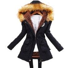 Зимние Куртки Женщины 2016 мода Повседневная Тонкий с капюшоном Искусственный шерсть полиэстер военная плюс размер воротник верхняя одежда и пальто