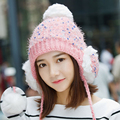 Knitted Winter Ear Hat Knitted Hat Winter Thickening Thermal Sweet Autumn and Winter