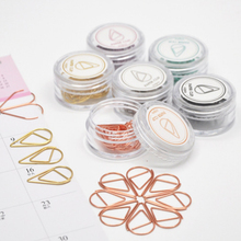 10pcs/box Simple Cute Water Drop Shape Paper Clip Seven Color Selection Book Markers Stationery