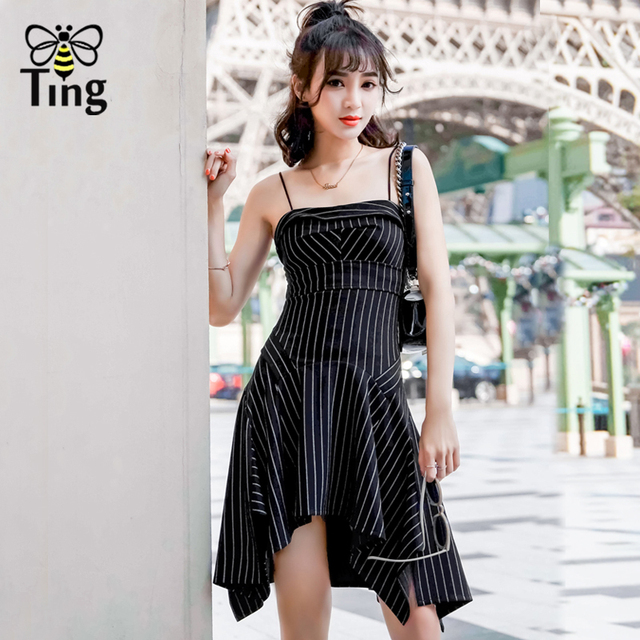 8d86d1b0fad7 Tingfly Selena Gomez same style Striped Asymmetrical strap mini Dress Sexy  Casaul Slim summer streetwear Party dresses vestidos