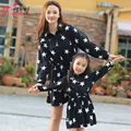 2016 Fashion style Autumn winter mother daughter dress  Lapel five-pointed star matching mother and daughter clothes