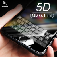 Baseus 5D Screen Protector Tempered Glass For IPhone X 8 7 Plus Full Cover Protective Anti