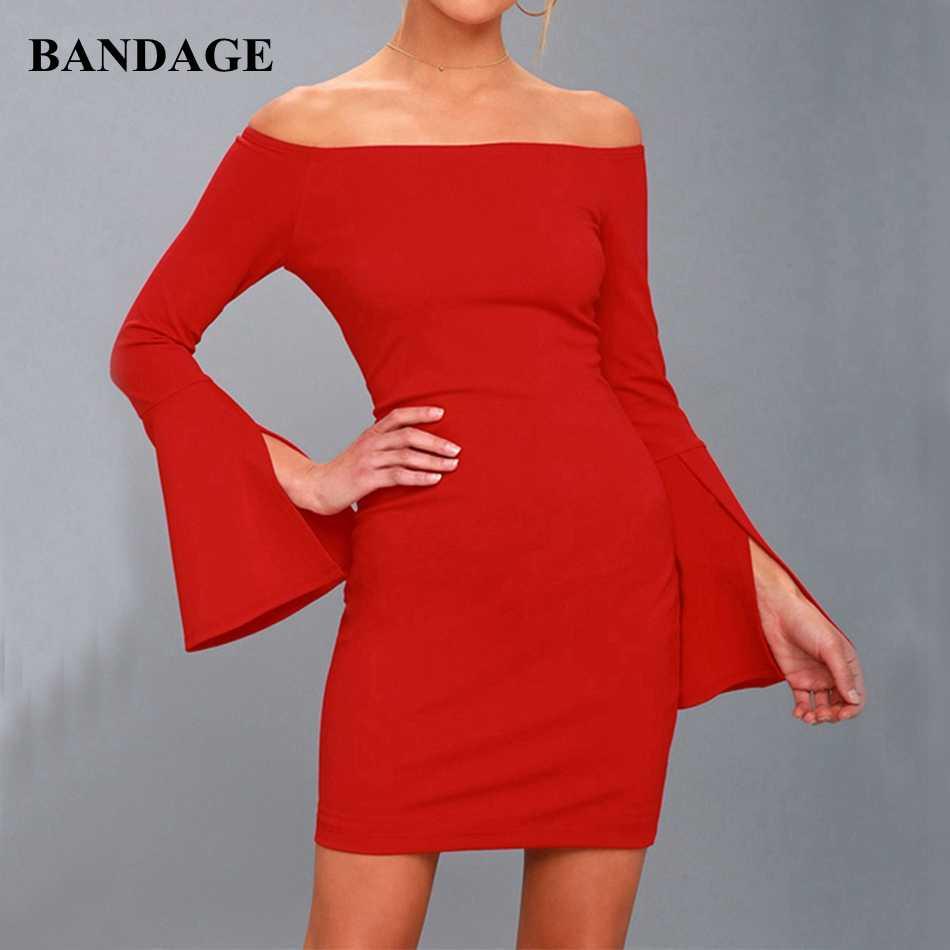 2019 дешевые холодное плечо с плеча Бандажное платье с рукавами-колокольчиками платье с длинным рукавом Мини Красное Вечернее Платье облегающее платье Vestidos