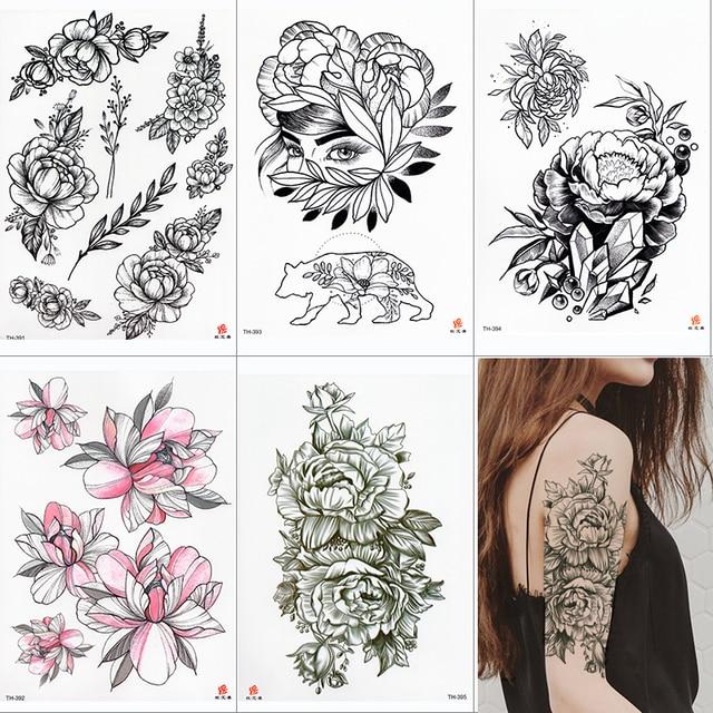 Rose Peony Flower Girls Temporary Tattoos For Women Waterproof Black Tattoo Stickers 3D Blossom Lady Shoulder DIY Tatoos 2