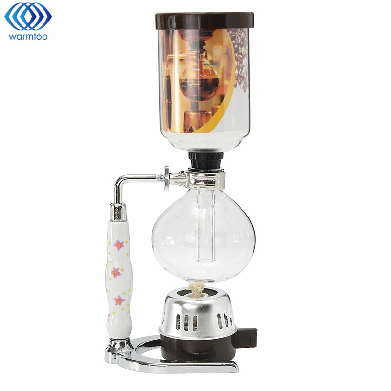 Glass Siphon Coffee Maker Cafetiere Pot Syphon Drip Coffee Maker 3 Cups Kitchen Coffee Machine Filter Tools Fashion dmwd japanese style siphon coffee maker tea siphon pot vacuum coffeemaker glass hydrocone type coffee machine filter 3cup 5cups