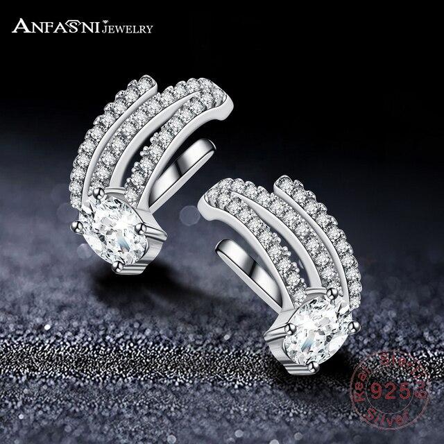 ANFASNI 925 Sterling Silver Micro Cubic Zirconia Crystal Geometric Clip Ear Cuff Earrings Silver Color Women No Pierced Jewelry