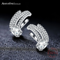 ANFASNI 925 Sterling Silver Micro Cubic Zirconia Crystal Geometric Clip Ear Cuff Earrings Silver Color Women