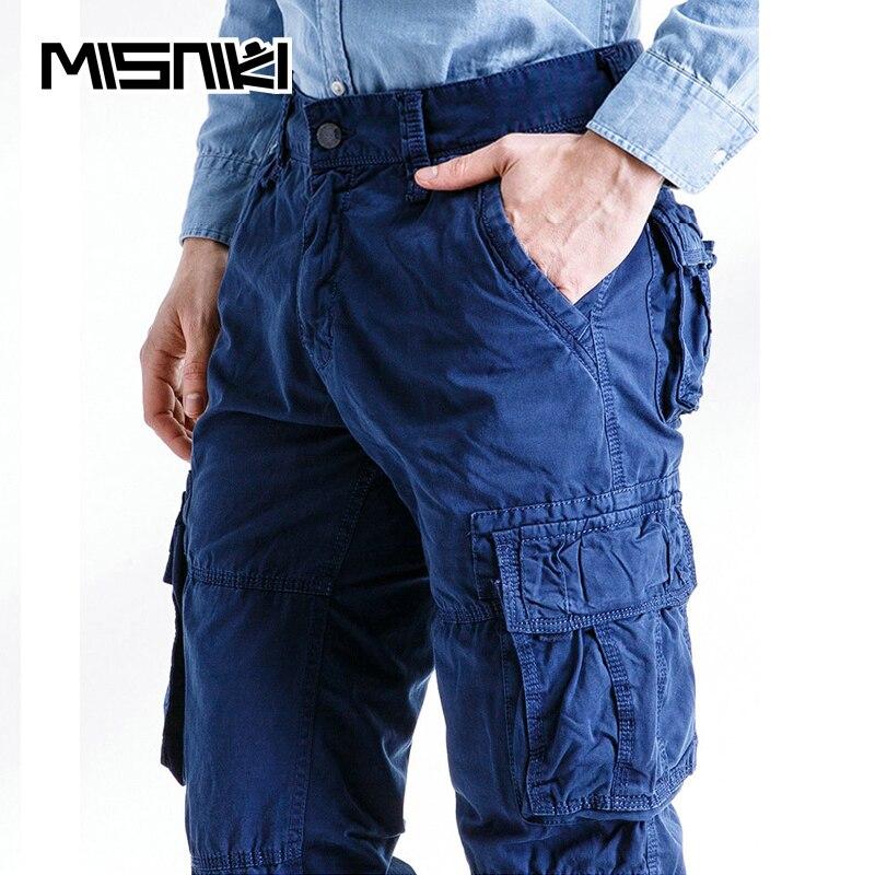 MISNIKI 2018 Spring Autumn Cotton Cargo Pants Mens Casual Multi-pocket Tactical Pen Pants Trousers Pantalon Homme