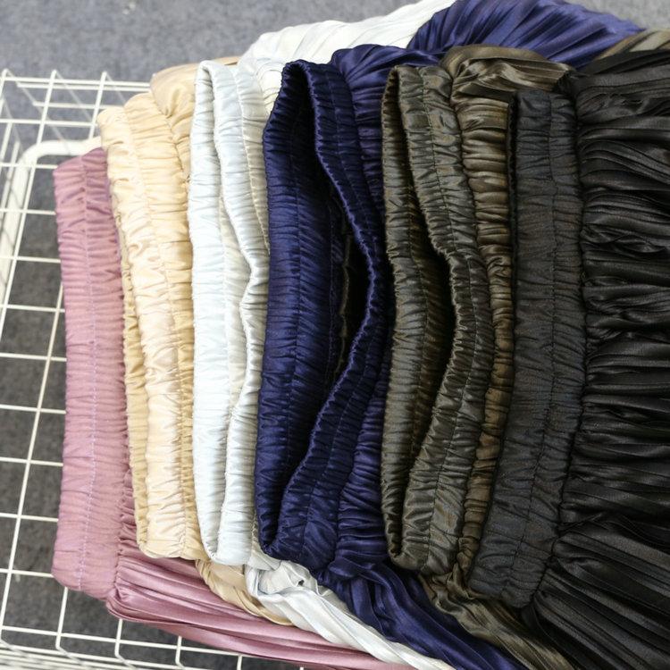 5b8d79194 Alphalmoda New Arrival Women Pleated Midi Skirts Elastic Waist Solid Color  Shining Fashion Satin Skirts in 6colors-in Skirts from Women's Clothing on  ...